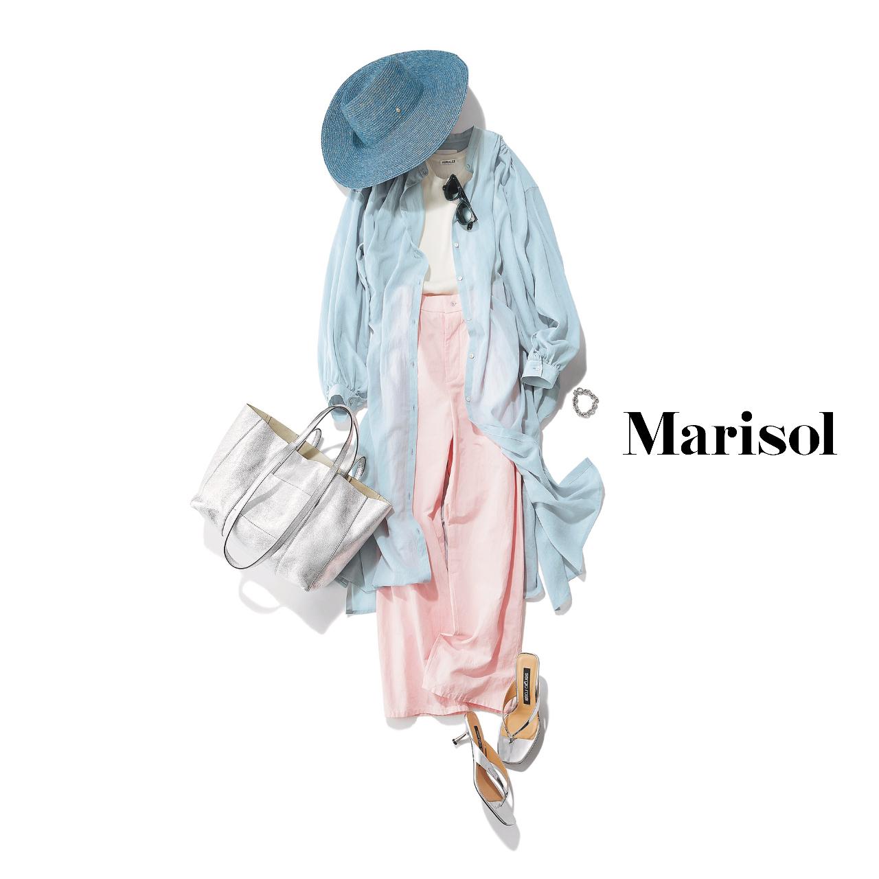 40代ファッション  ブルーシャツワンピース×ピンクパンツ コーデ