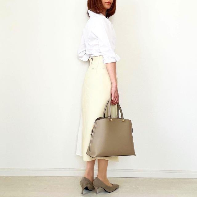 白シャツ×異素材mixスカートできれいめスタイル【tomomiyuコーデ】_1_6