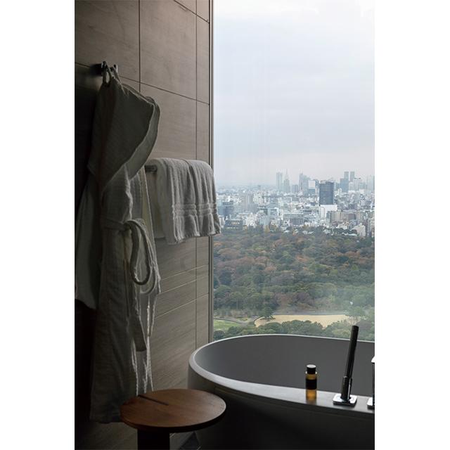 皇居東御苑を望めるパノラマスイートの浴室