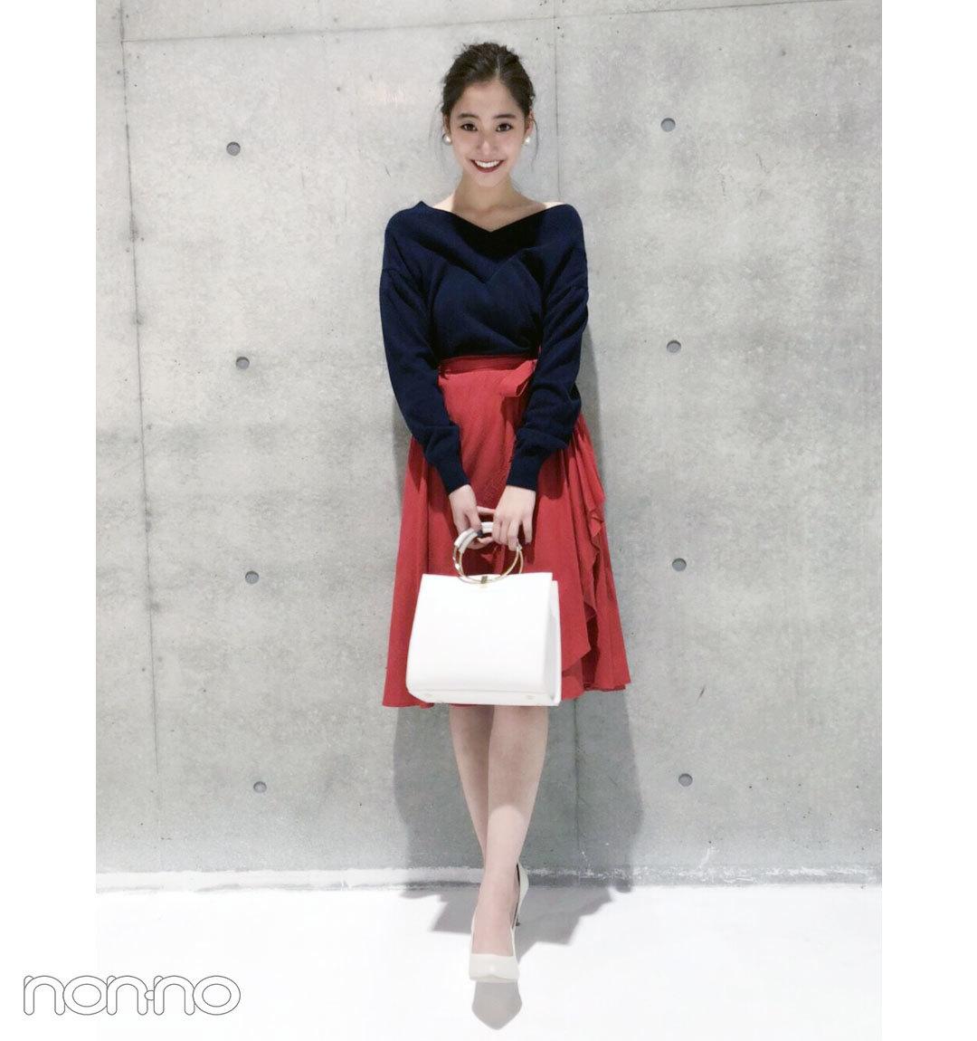 新木優子はネイビー&赤&白の好感度配色でフェミニンに!【毎日コーデ】_1_1