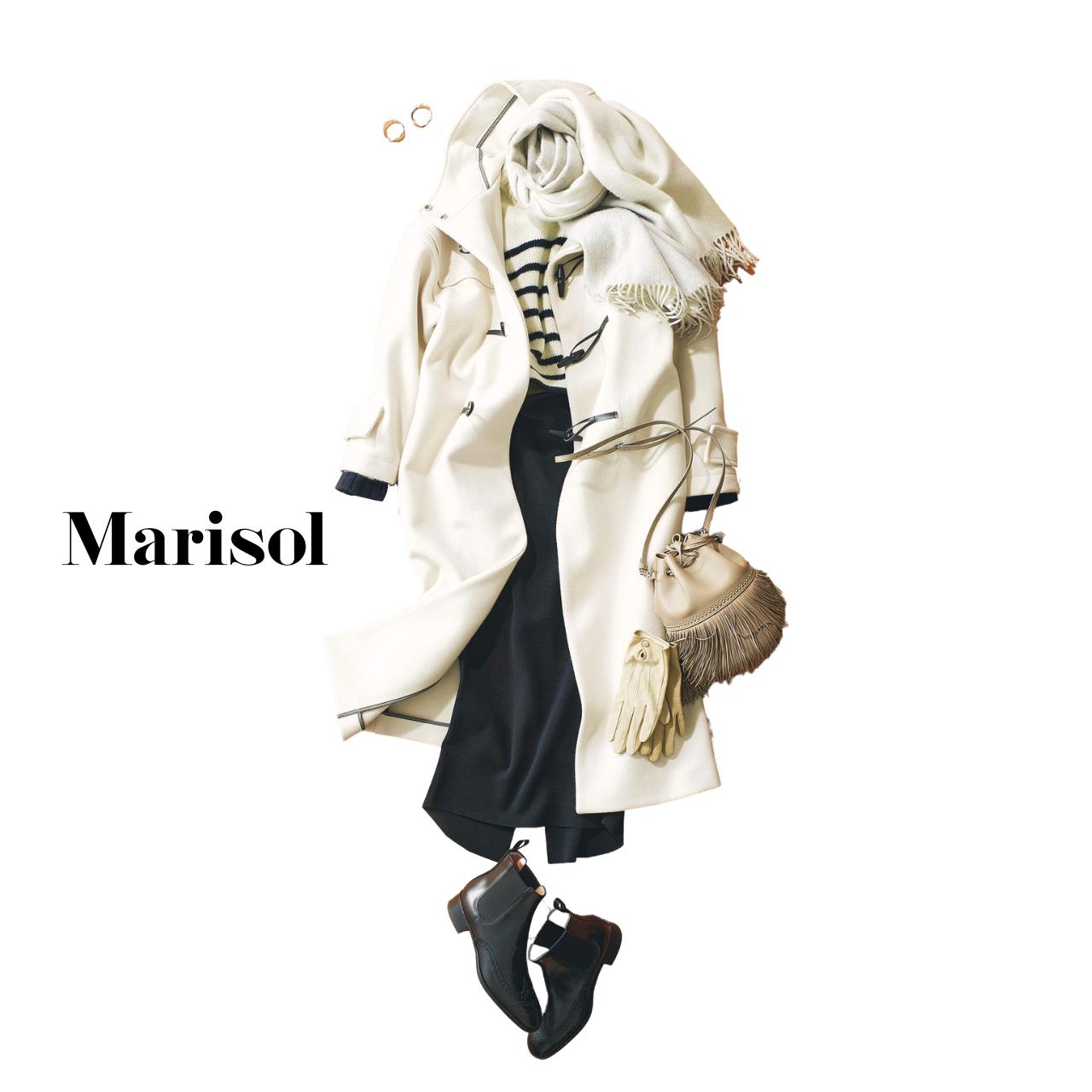 40代ファッション ダッフルコート×タイトスカートコーデ