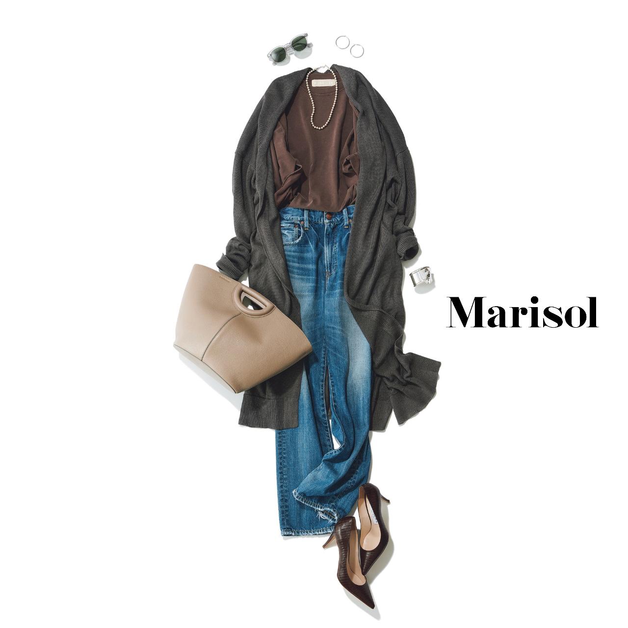 40代ファッション  ロングカーディガン×ブラウンTシャツ×デニムパンツ×パンプスコーデ