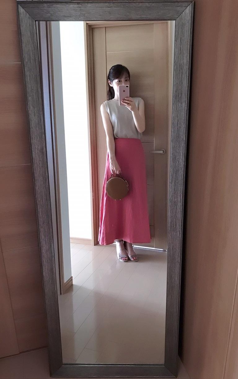 ベージュとピンクの秋色コーデ着画