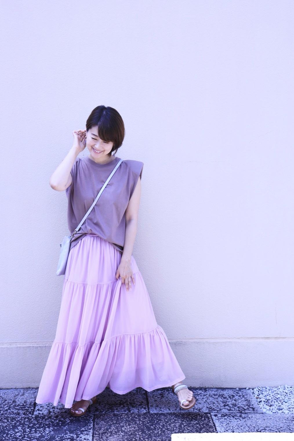 ZARAの細見えパワーショルダートップスと、きれい色のひらりんスカート♡_1_1