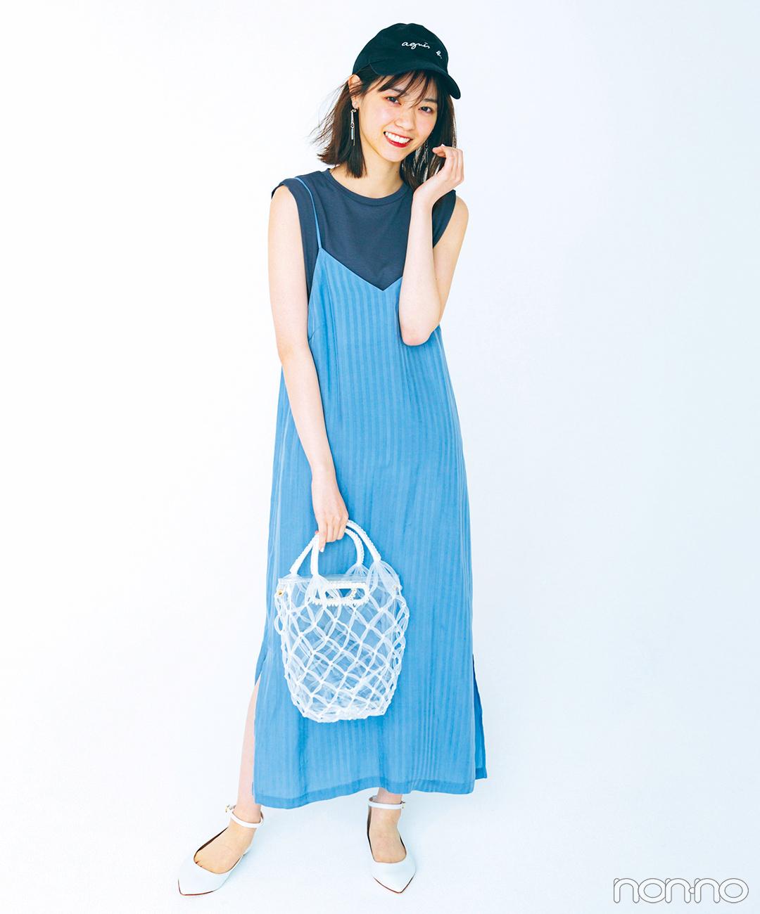 西野七瀬はノースリTシャツとキャミワンピでラフさも女っぽさもゲット♡【毎日コーデ】_1_1