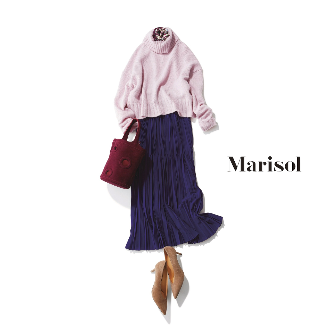 40代ファッション ざっくりピンクニット×マキシスカートコーデ