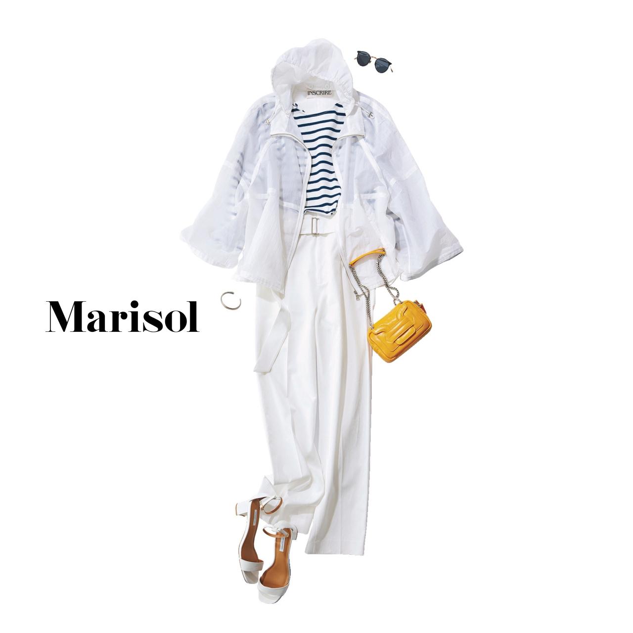 40代ファッション 白ブルゾン×ボーダー×白パンツコーデ