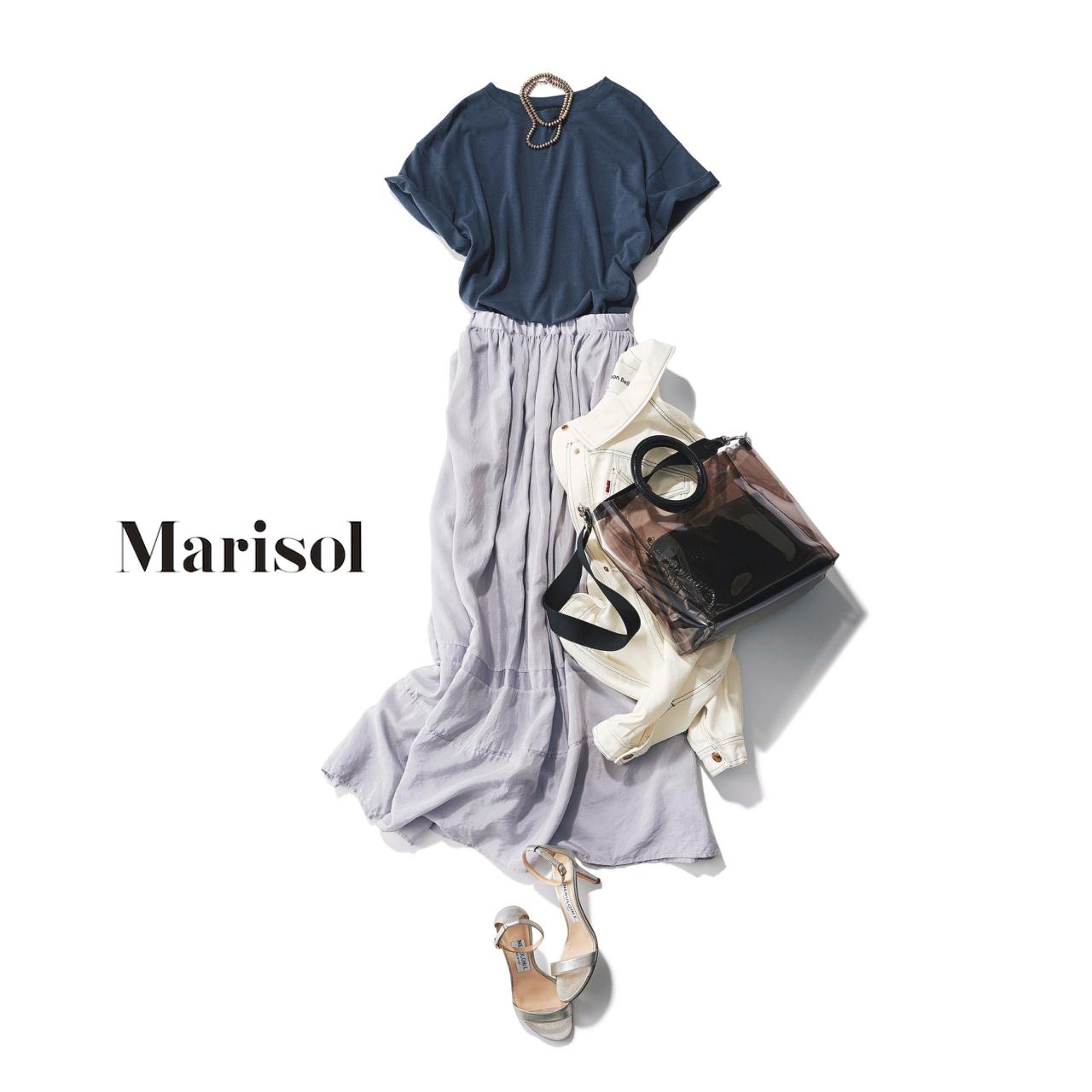 40代ファッション Tシャツ×マキシ丈フレアスカートコーデ