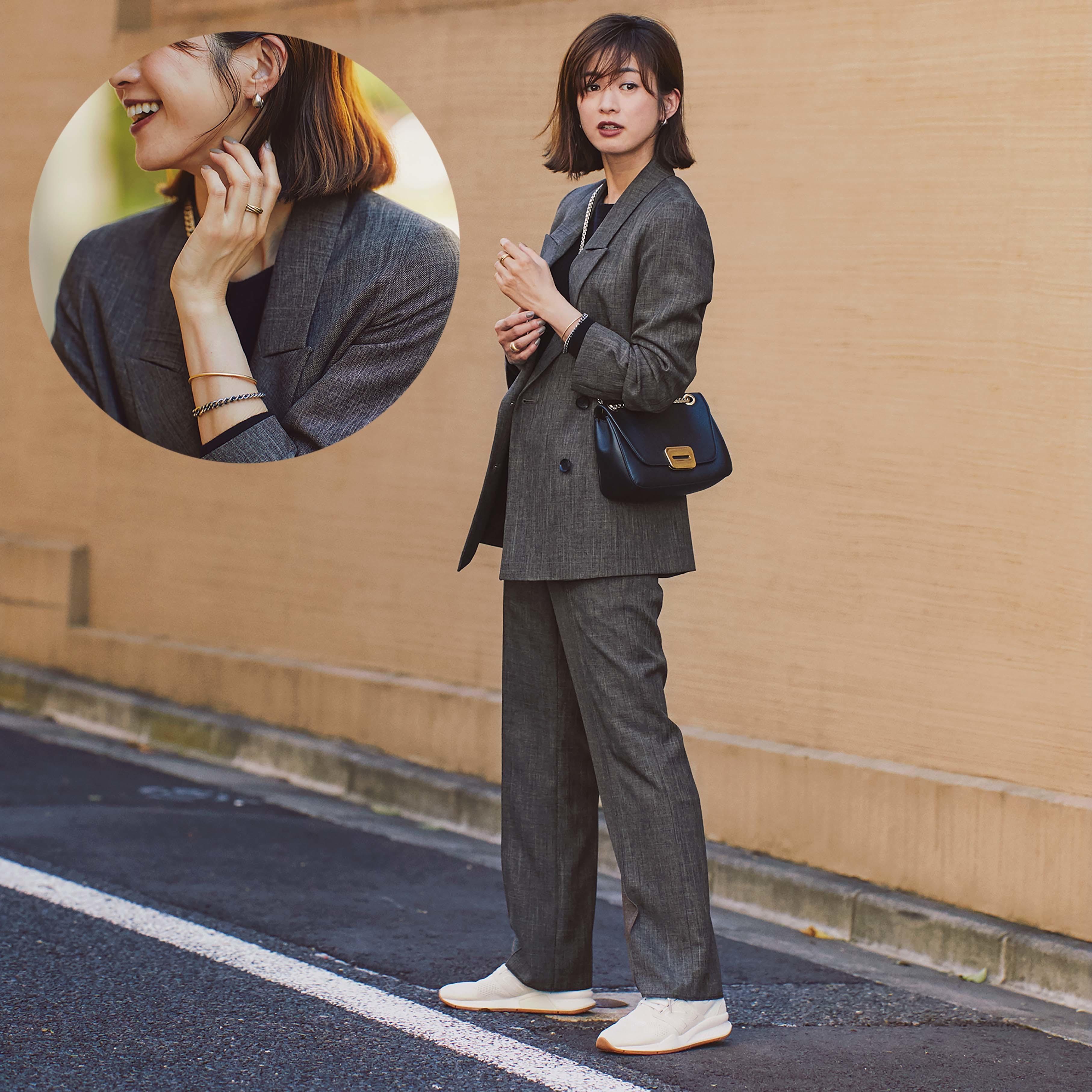 ジャケット×パンツ×アクセサリーのファッションコーデ