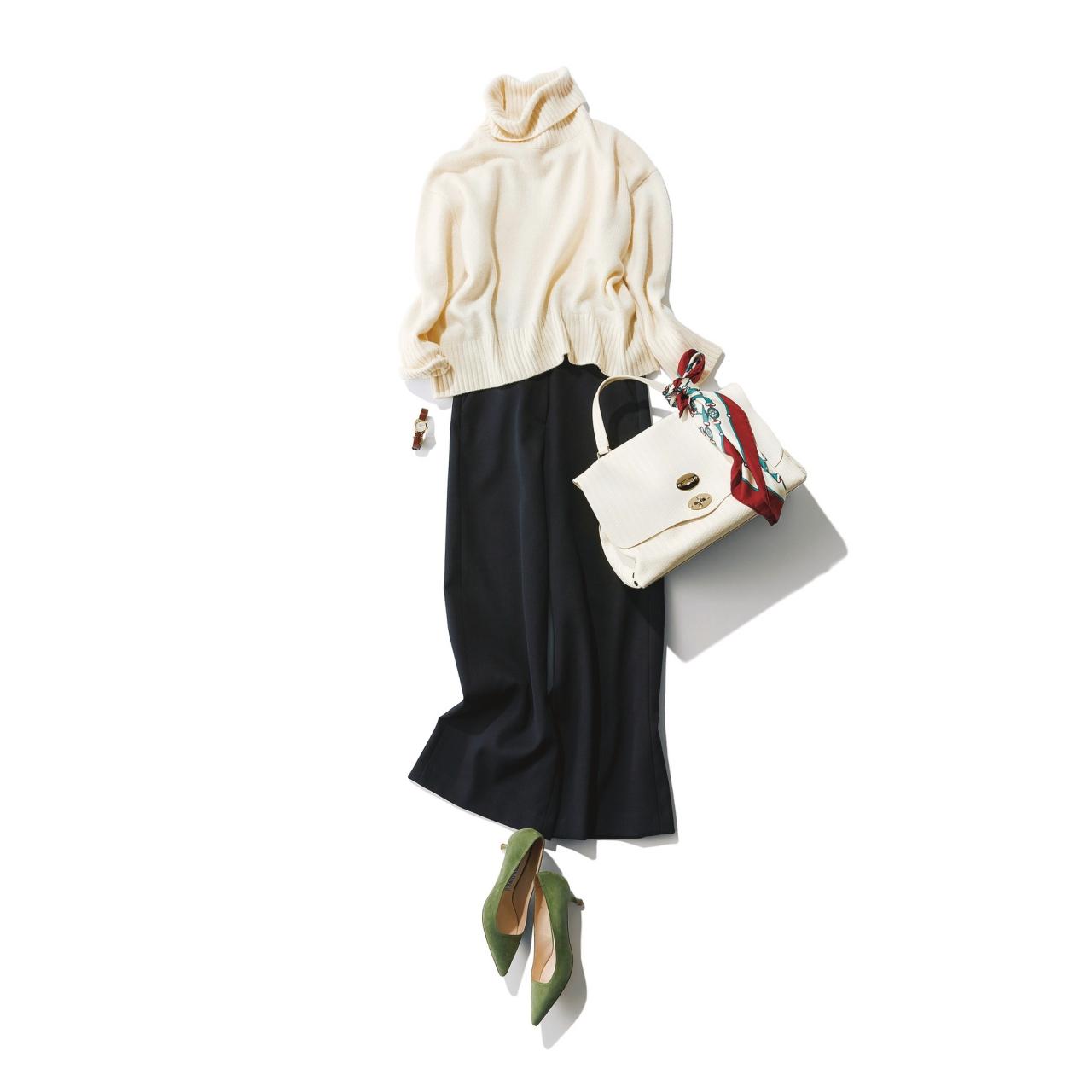 ファッション 白のタートルニット×黒パンツコーデ