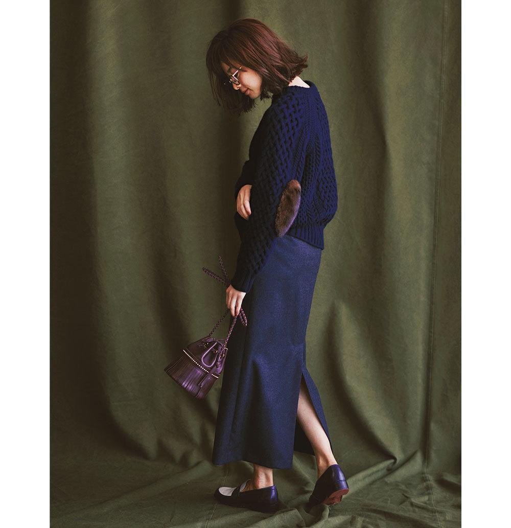 フィッシャーマンズニット×ロングタイトスカートのファッションコーデ