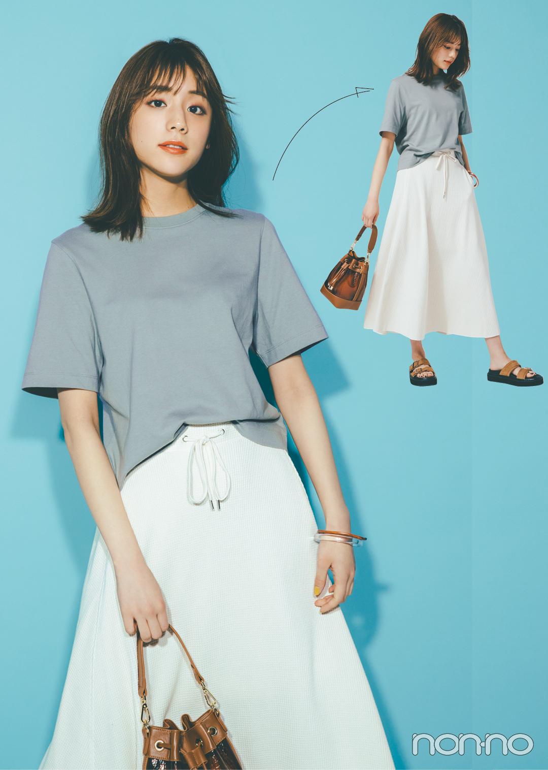 ボックス型のTシャツ、シンプルなのに細見えするってウワサ!_1_2