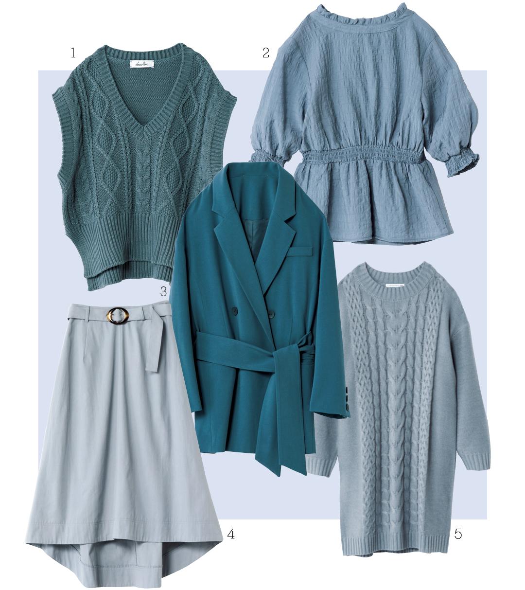 春色ブルーなら、スモーキーな色みが正解! 即買いしたい6着をお届け♡  _1_3
