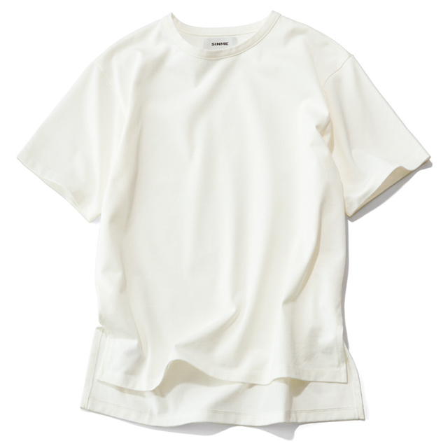 SINME×éclatスリット入りビッガーTシャツ(ホワイト)