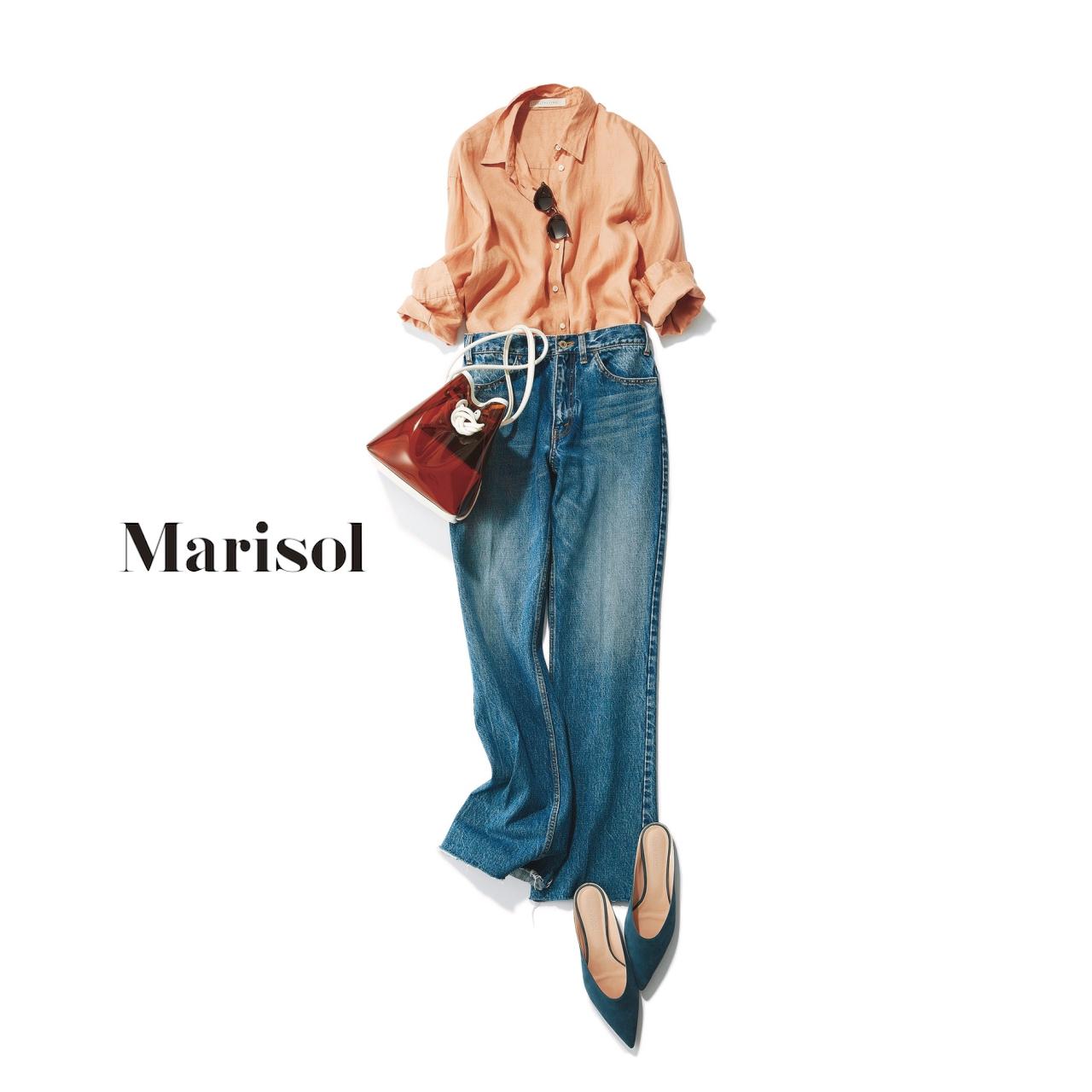 40代ファッション ピンクリネンシャツ×デニムコーデ
