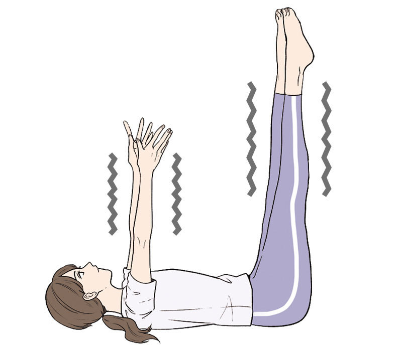 あおむけに寝て、力を抜いてリラックスし、両手両脚を上に上げて、ブルブルと小刻みに震わせる。これを30秒〜1分ほど続ける。末端に滞った血液が心臓に戻りやすくなる。