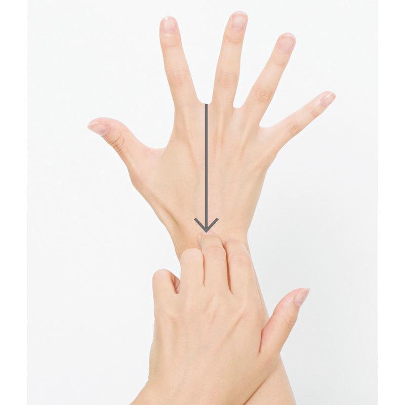 片手の第2関節を反対側の手の甲に当て、指のつけ根から手首中央へ押し流す。これを3回。手のひら側も同様に。