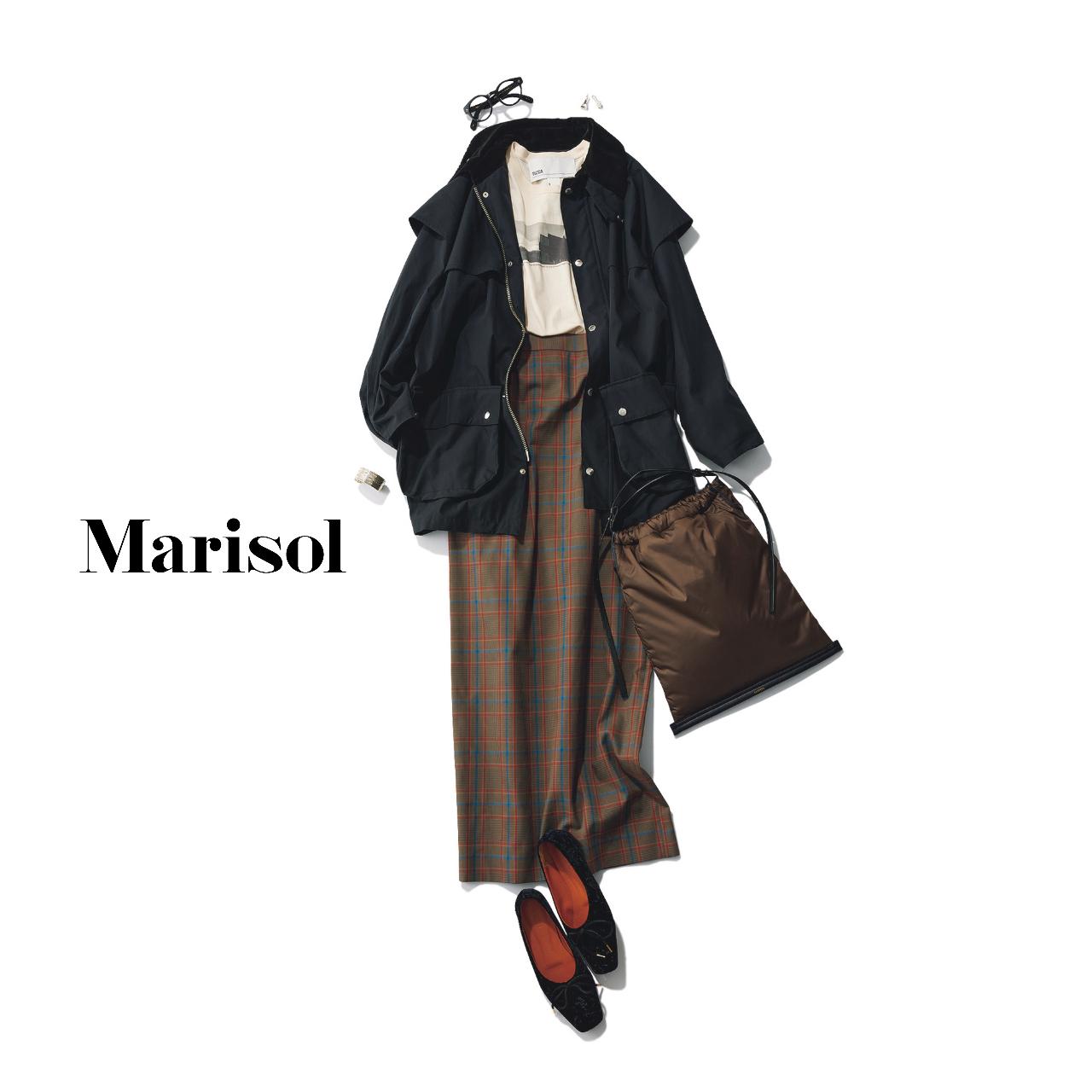 40代ファッション  ブルゾン×チェックパンツコーデ