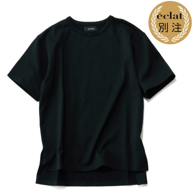 SINME×éclatスリット入りビッガーTシャツ(ブラック)