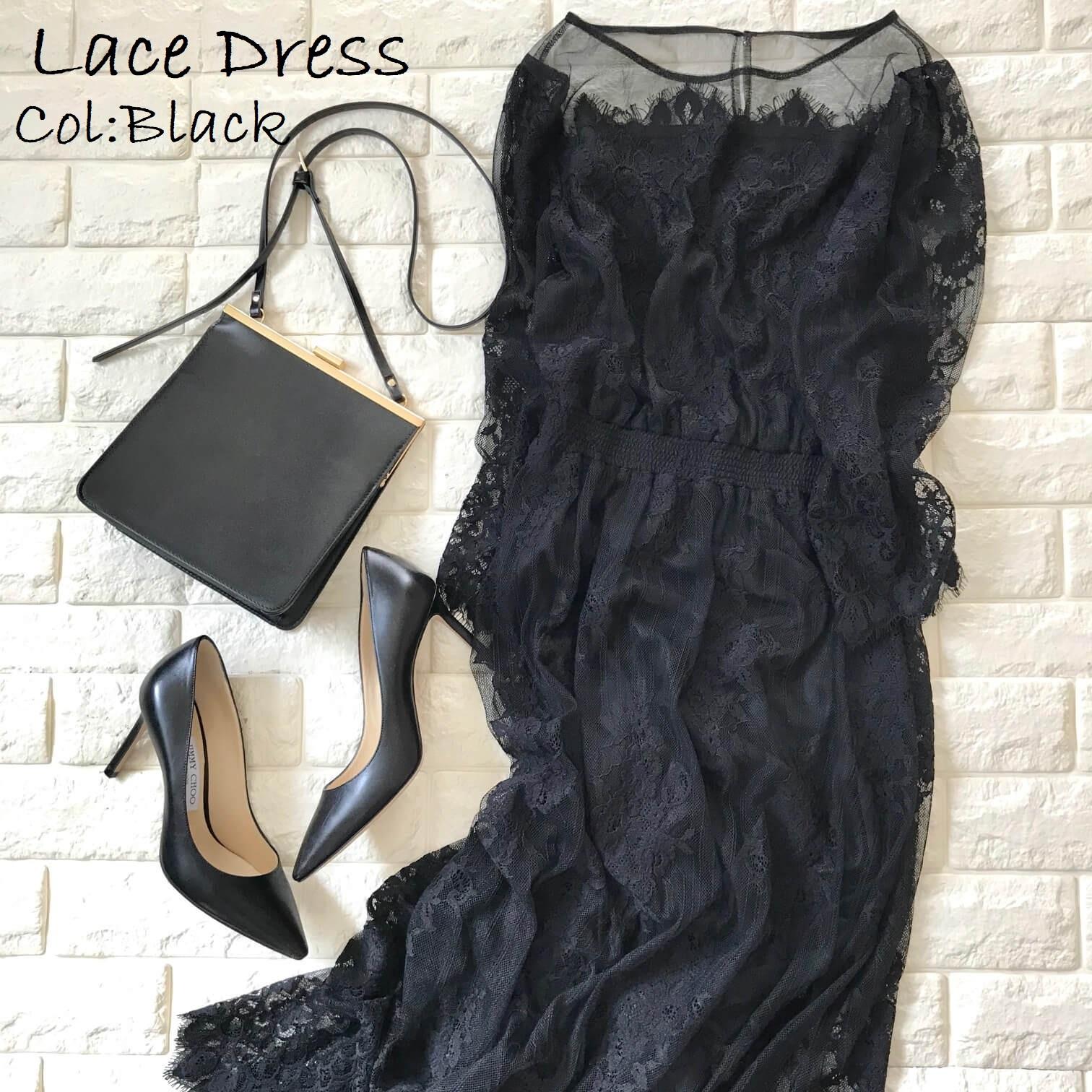 ロペピクニックレースドレスに黒の小物を合わせた画像