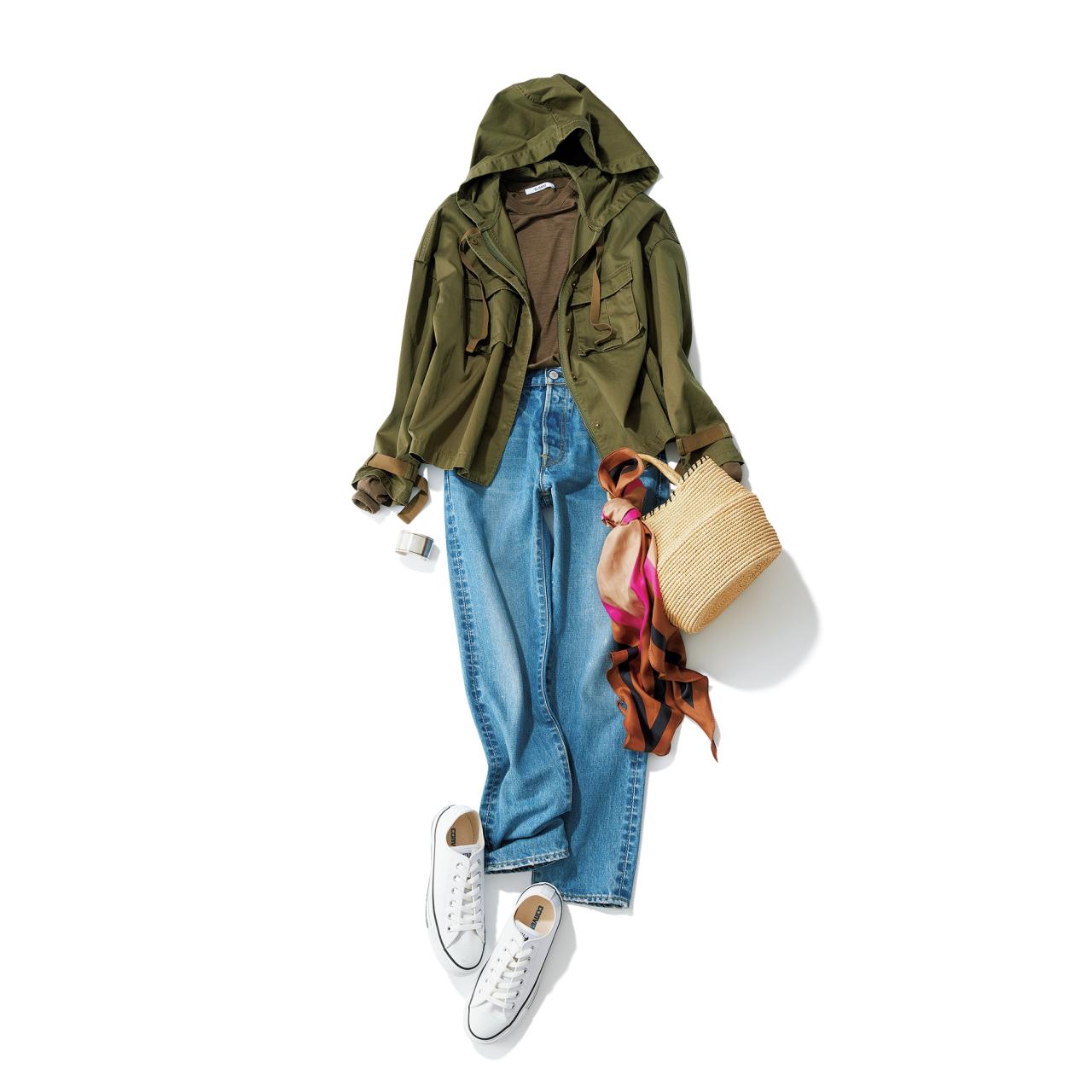 白コンバースのローカットスニーカー×ジャケット&デニムパンツのファッションコーデ