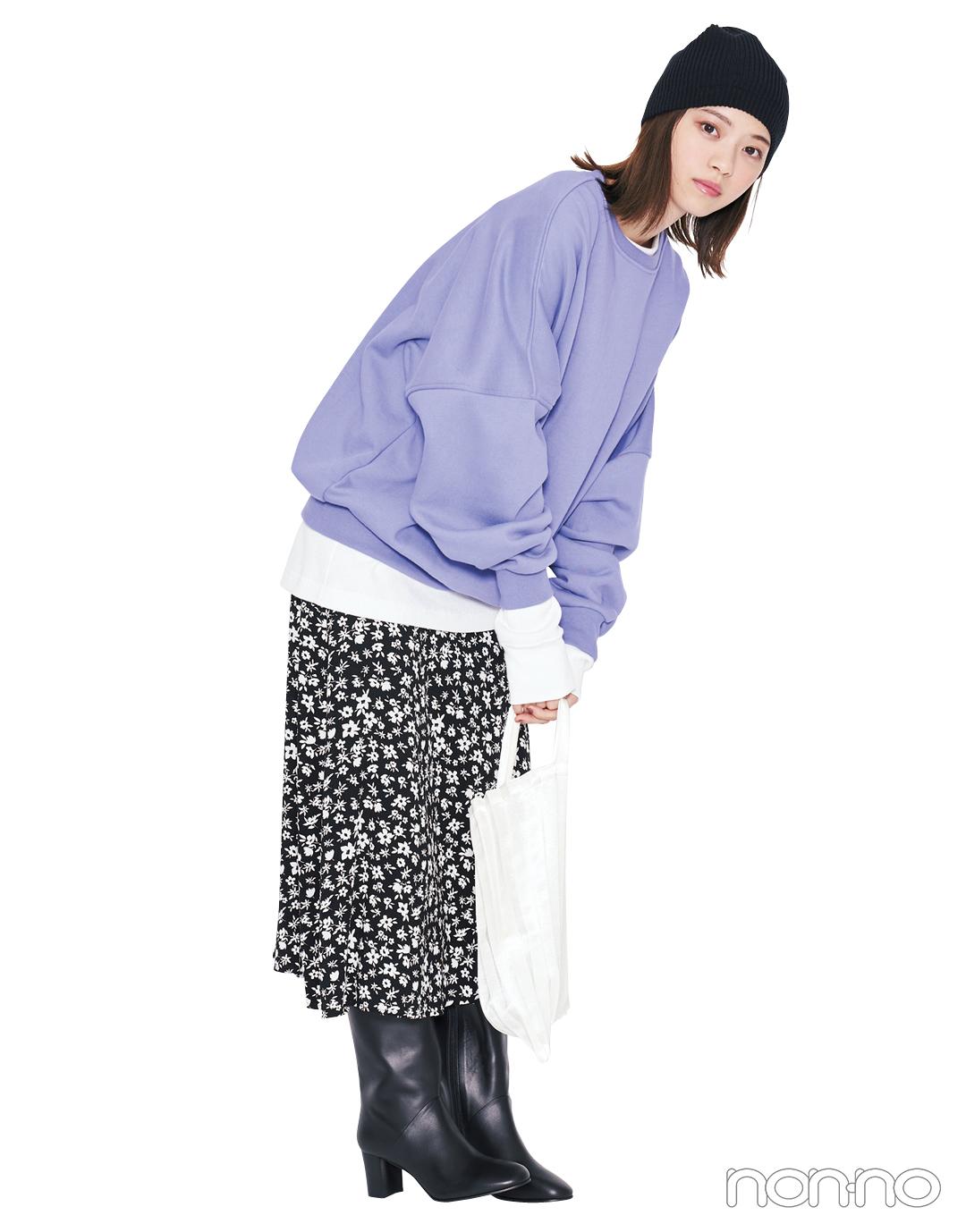 柄スカート、この秋はスリムフレアを選ぶとちょうどよく大人っぽい!_1_3-1