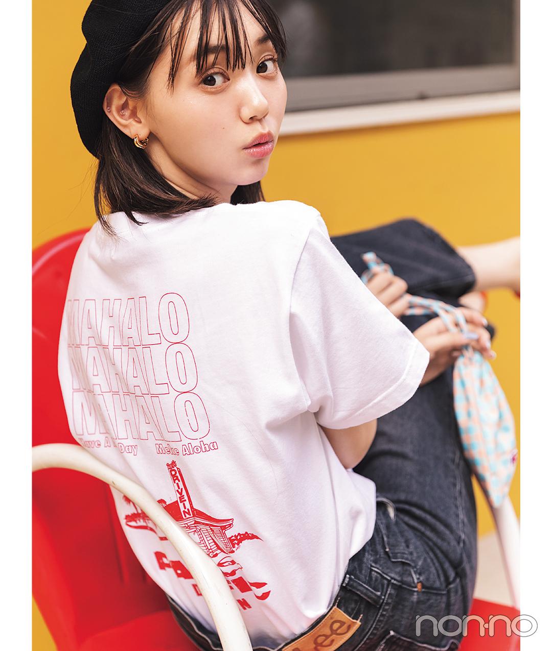 江野沢愛美が着るPacific DRIVE-INのショップTシャツコーデ32