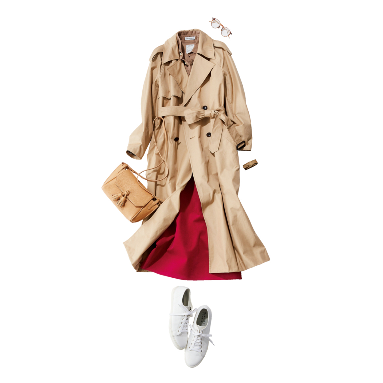 ベージュのトレンチコート×ピンクスカート&白スニーカーのファッションコーデ