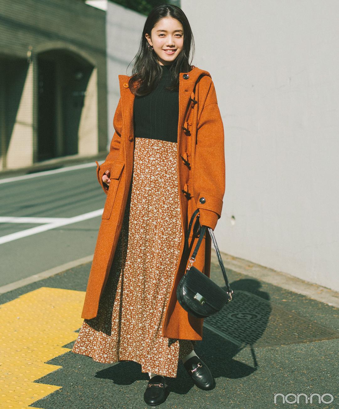 ロングコート×ロングスカートはグラデ配色で印象すっきり!【毎日コーデ】