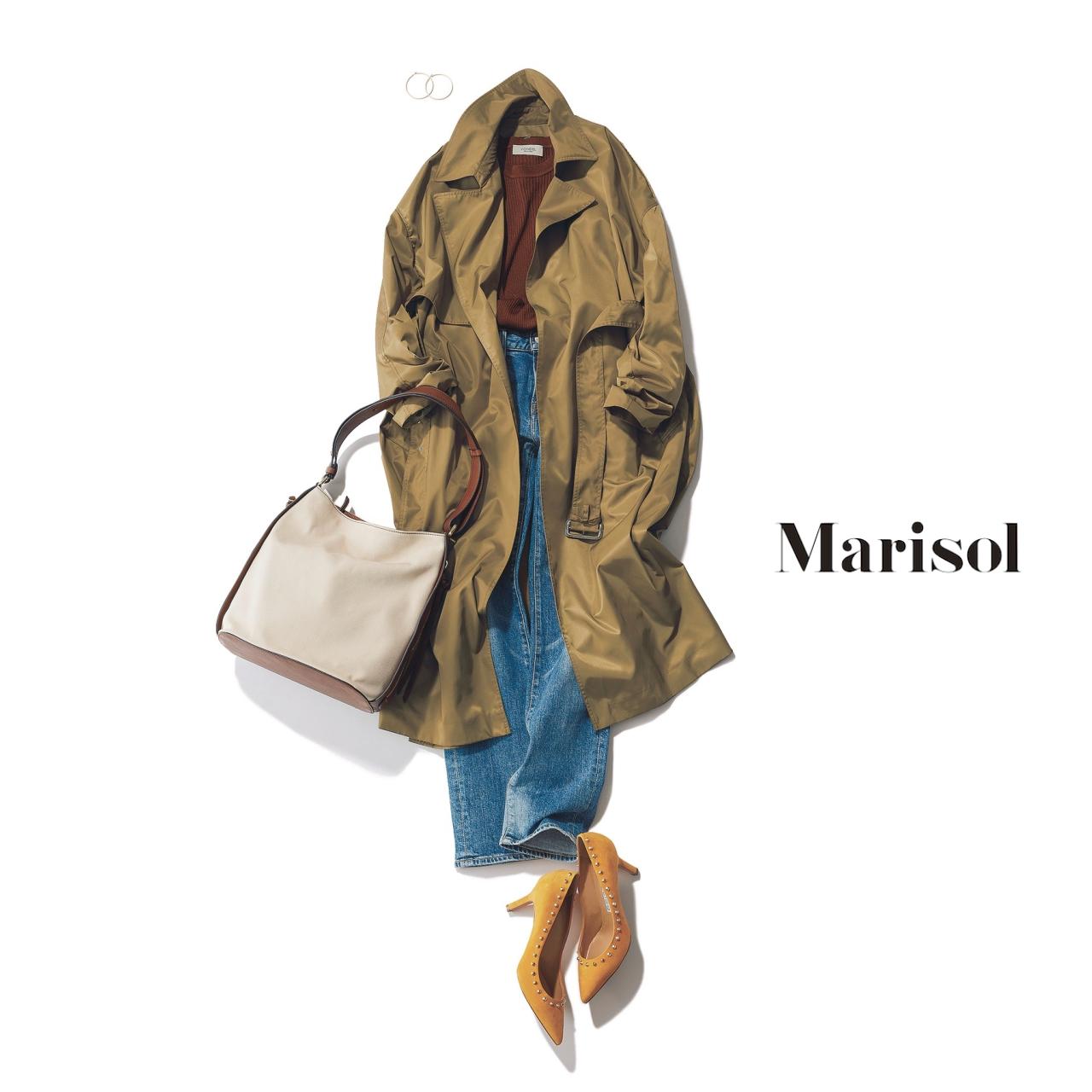 40代ファッション カーキトレンチコート×デニムパンツコーデ