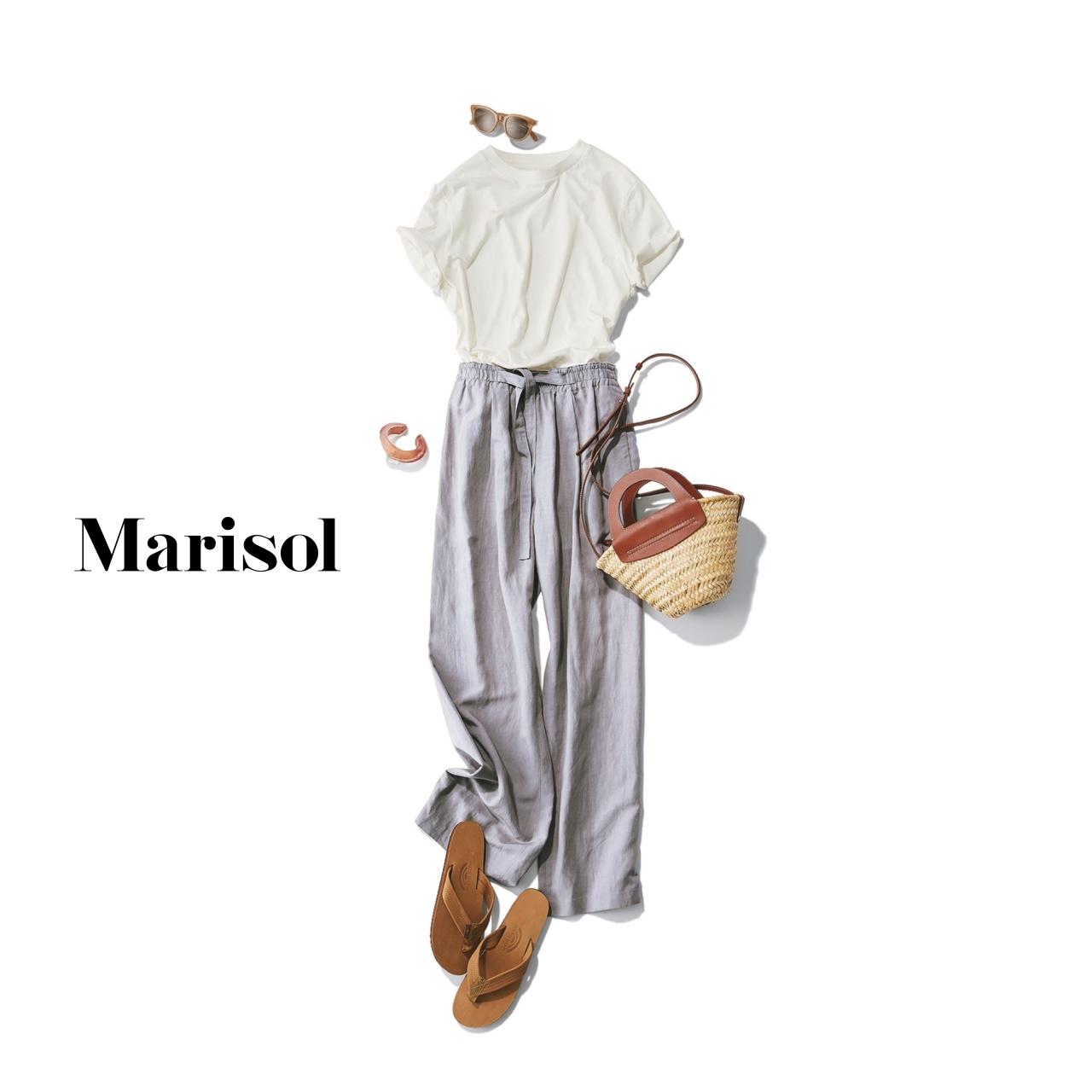 40代ファッション 白Tシャツ×ラベンダーパンツコーデ