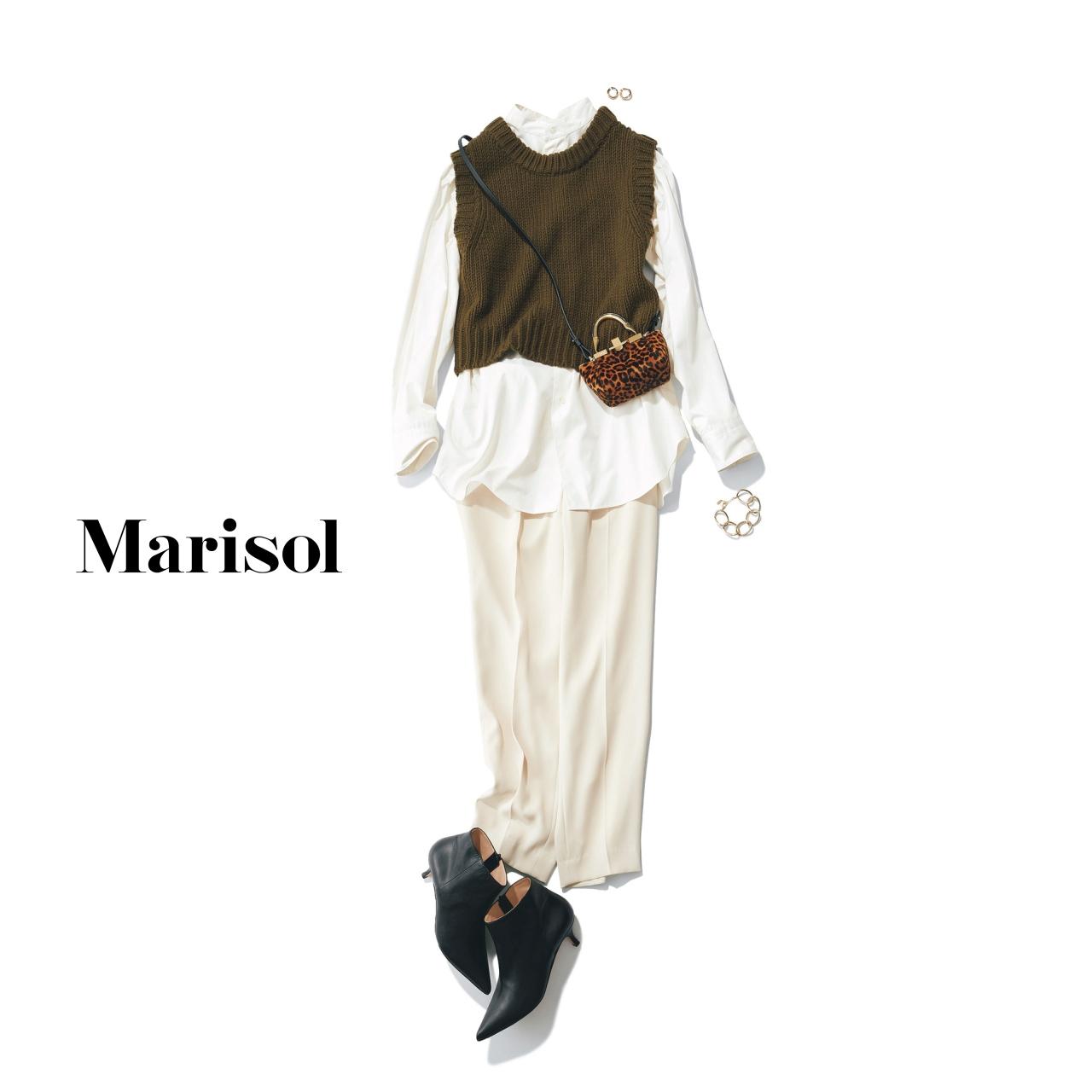 40代ファッション シャツ×ベスト×パンツコーデ