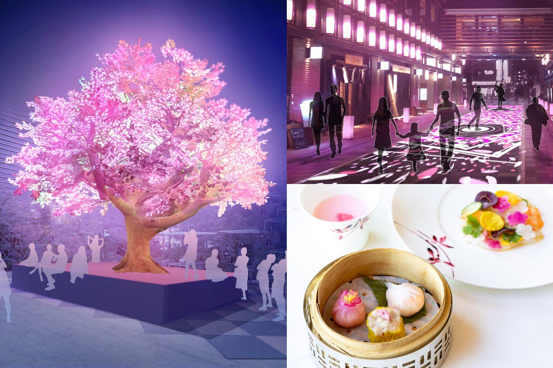 左/デジタルアート「The Tree of Light-灯桜-」が、16時から20時まで福徳の森で点灯 右上/仲通りでは、光と音の映像による「サクラカーペット」を17時から20時まで楽しめる 右下/約190店舗が「桜」モチーフのグルメやグッズを提供