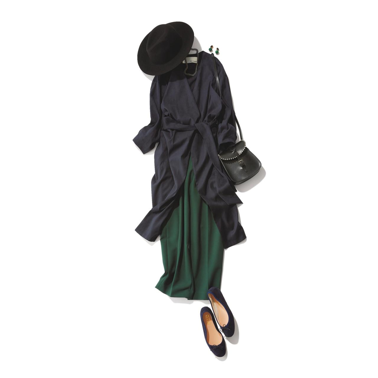 ロングカーディガン×グリーンパンツのファッションコーデ