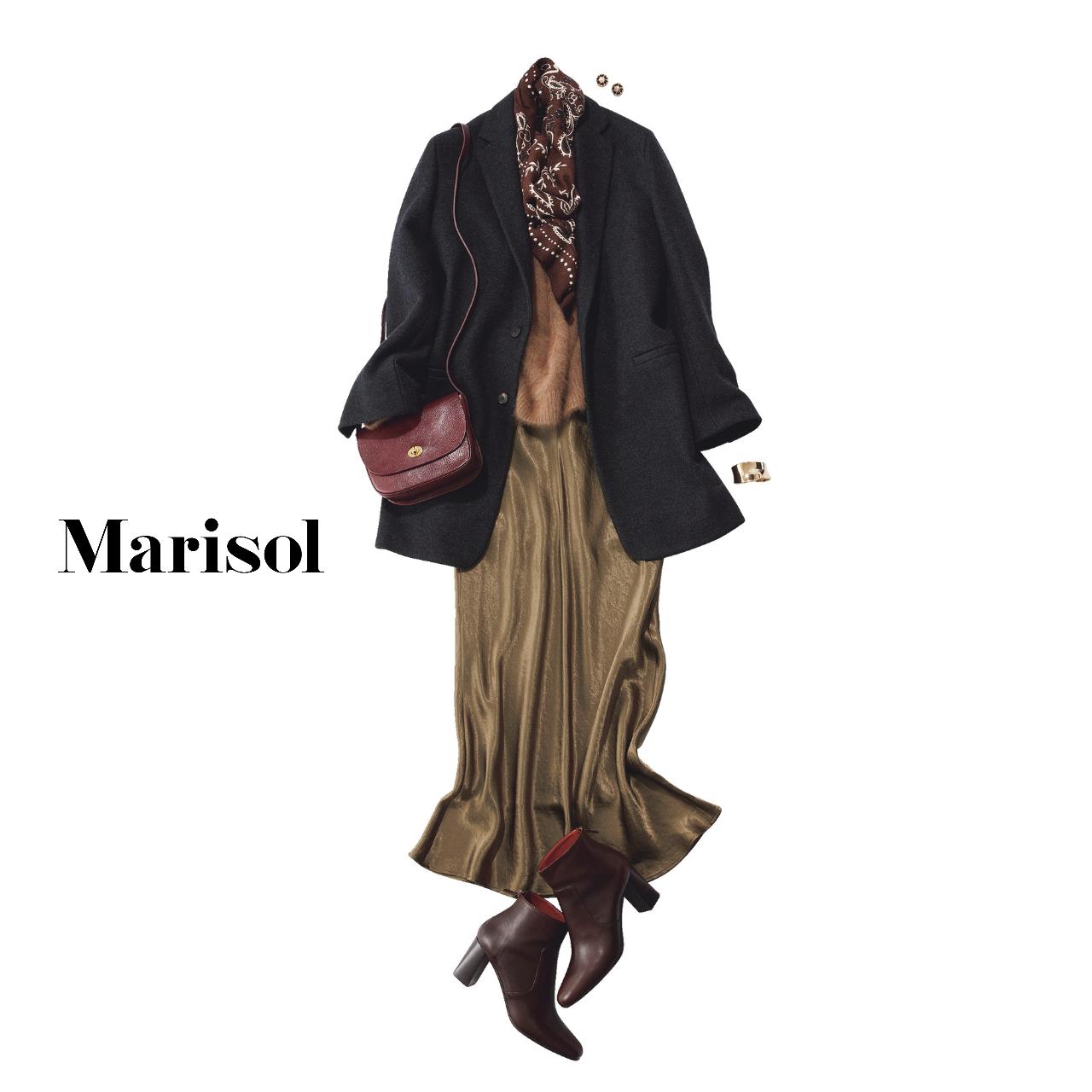 40代ファッション ジャケット×ナロースカート×スカーフコーデ