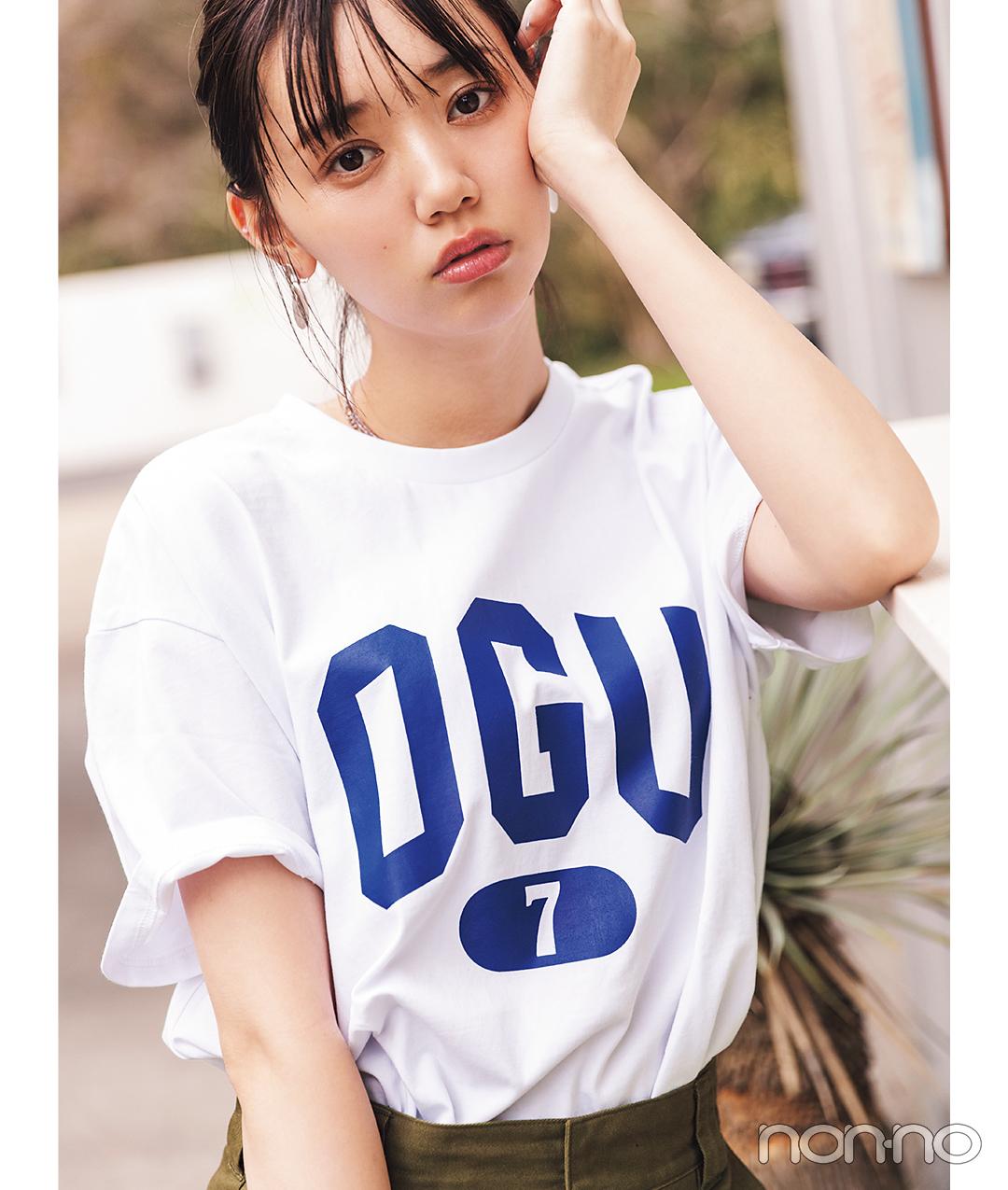 江野沢愛美が着るSTANDSEVENのショップTシャツコーデ34