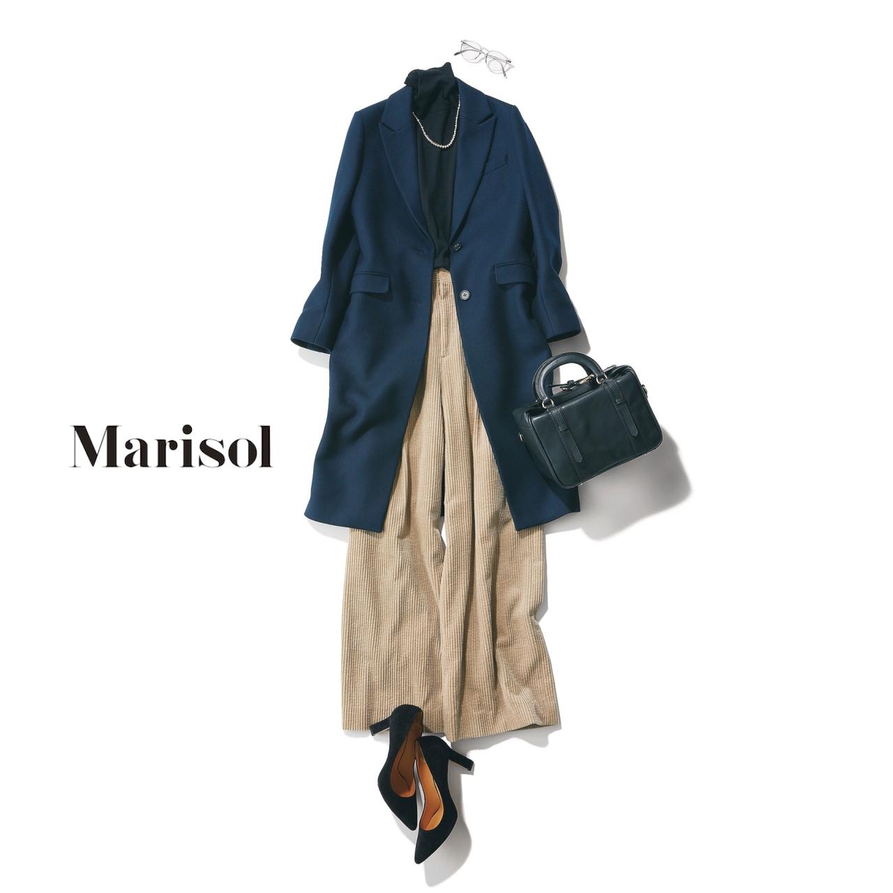 40代ファッション ネイビーコート×コーデュロイパンツコーデ