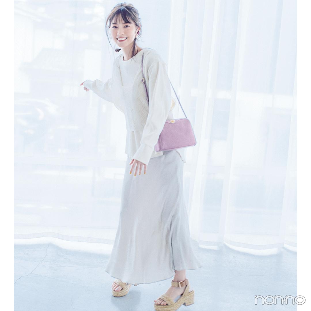 おうちでもTシャツ&ボリュームスカートの淡色トーンで今っぽく!【毎日コーデ】_1_2-2
