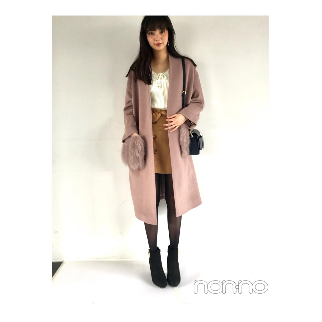 優愛が着るくすみピンクのファーつきコート【毎日コーデ】_1_1