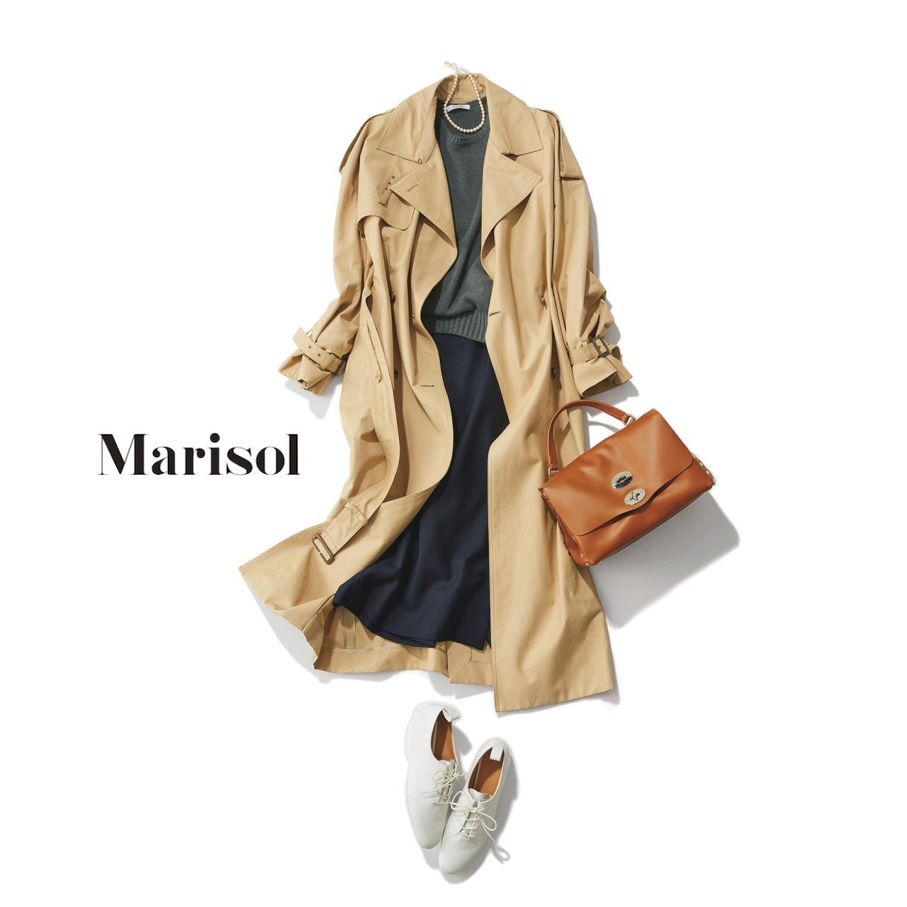 40代ファッション トレンチコート×ニット×スカートコーデ