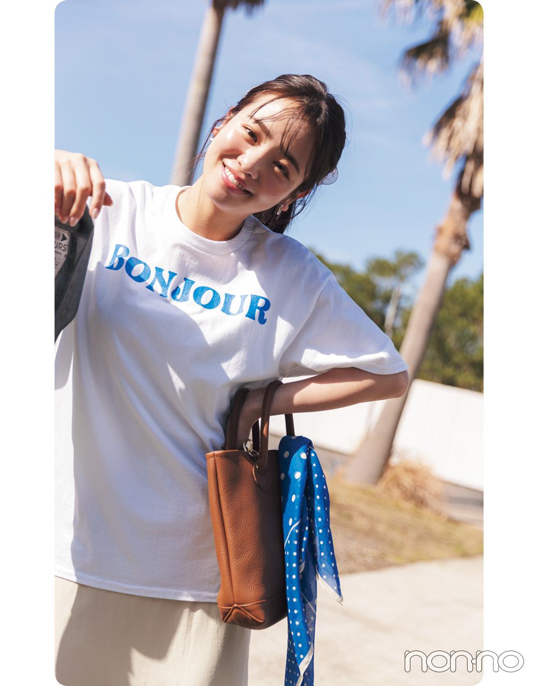 横田真悠が着るBonjour recordsのTシャツコーデ3