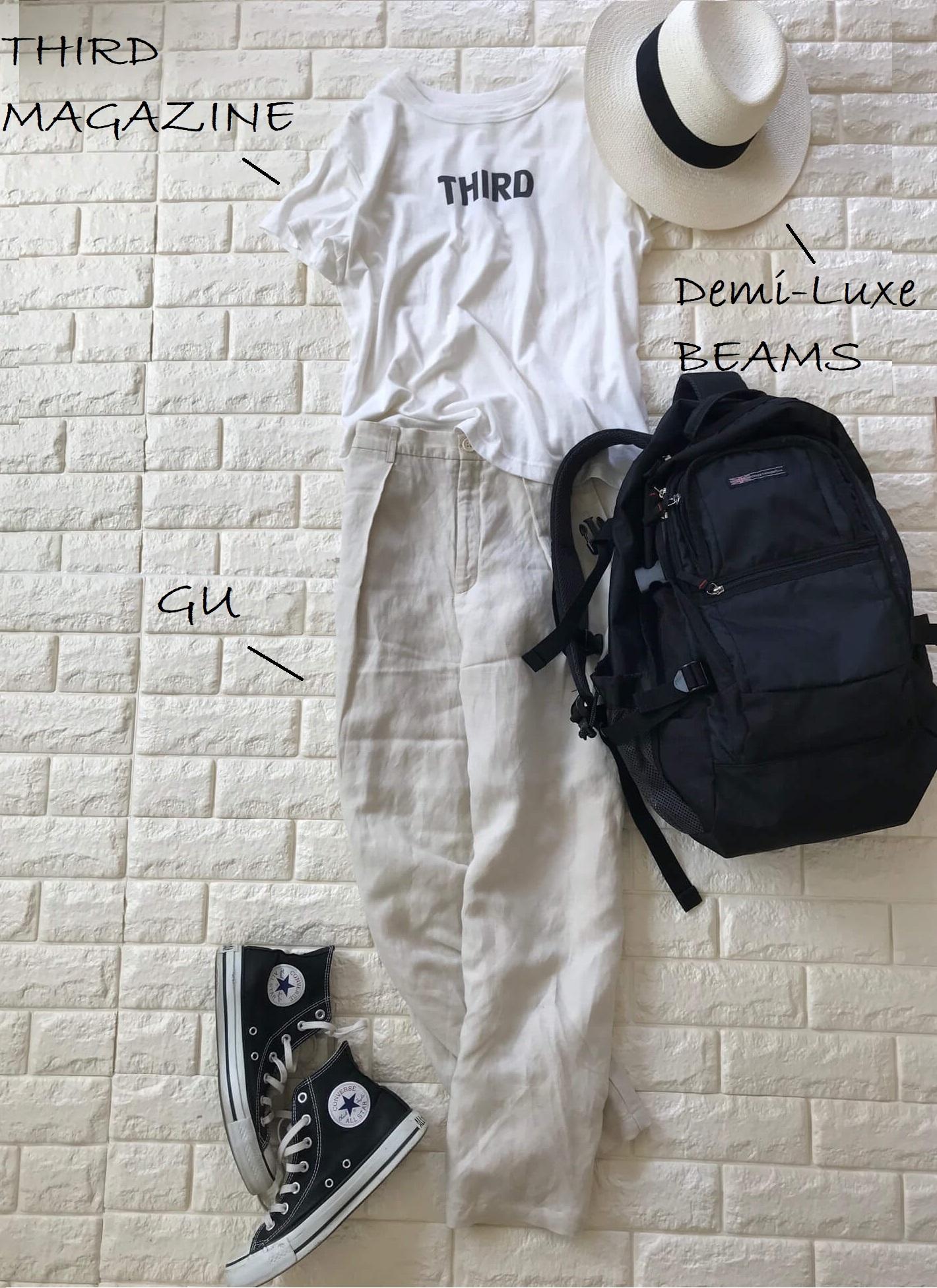 サードマガジンのTシャツとリネンパンツを合わせた出発の日のコーデ