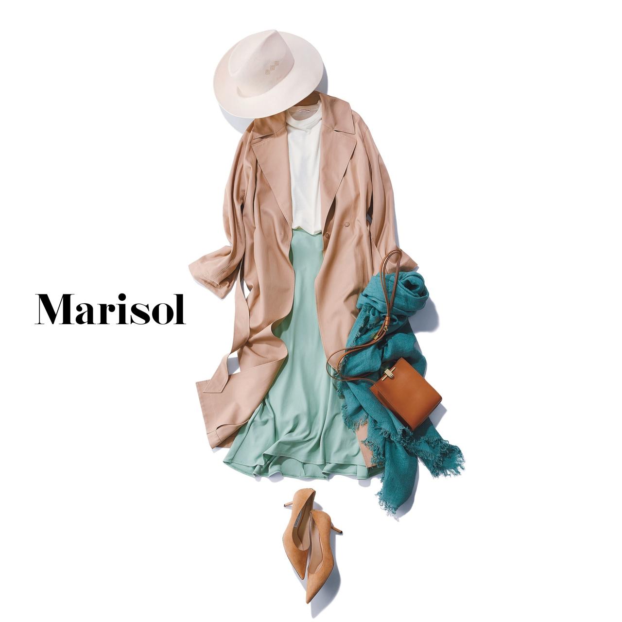 40代ファッション ピンクベージュトレンチコート×ミントグリーンスカートコーデ