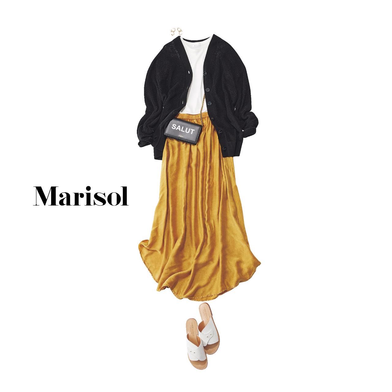 40代ファッション  黒カーディガン×白カットソー×イエロースカートコーデ