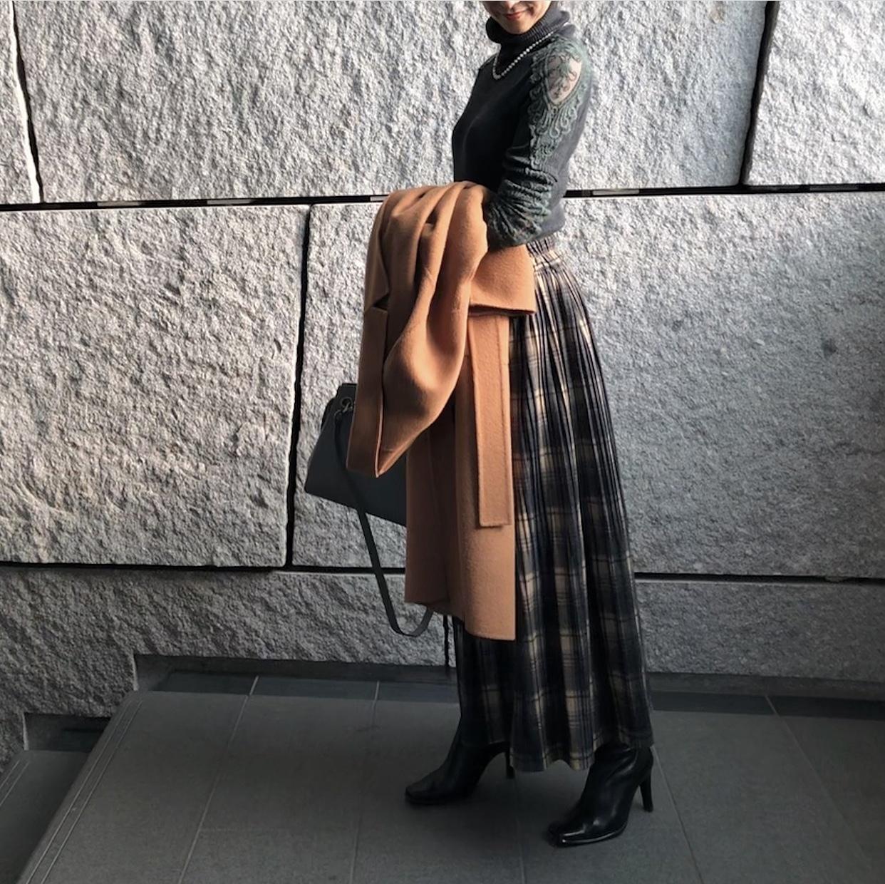 渋めチェックの揺れスカート_1_3