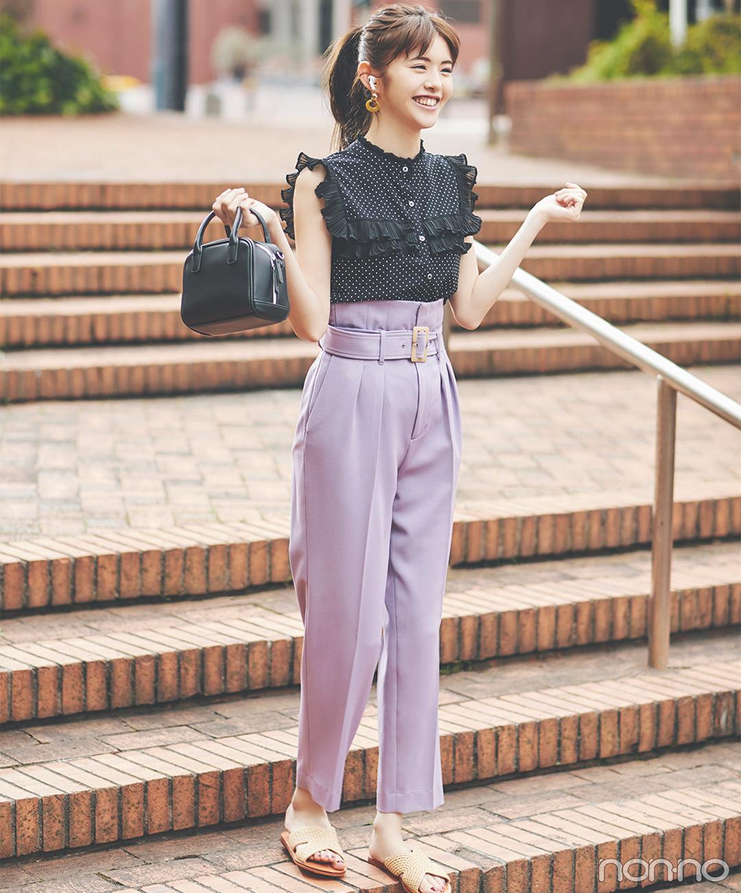 美人見え&スタイルアップを同時に叶えるラベンダー色パンツ【毎日コーデ】