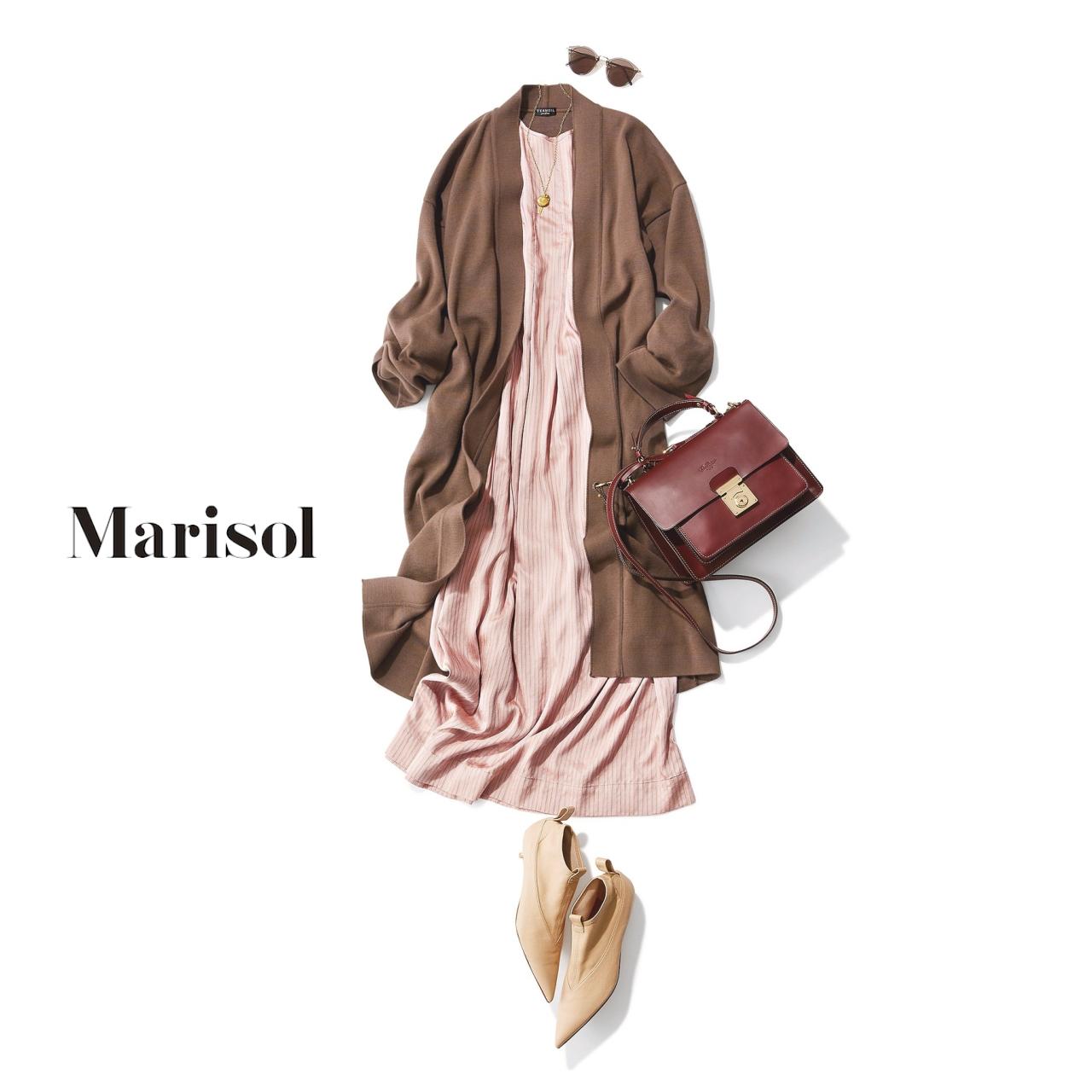 40代ファッション ピンクワンピース×ブラウンロングカーディガンコーデ