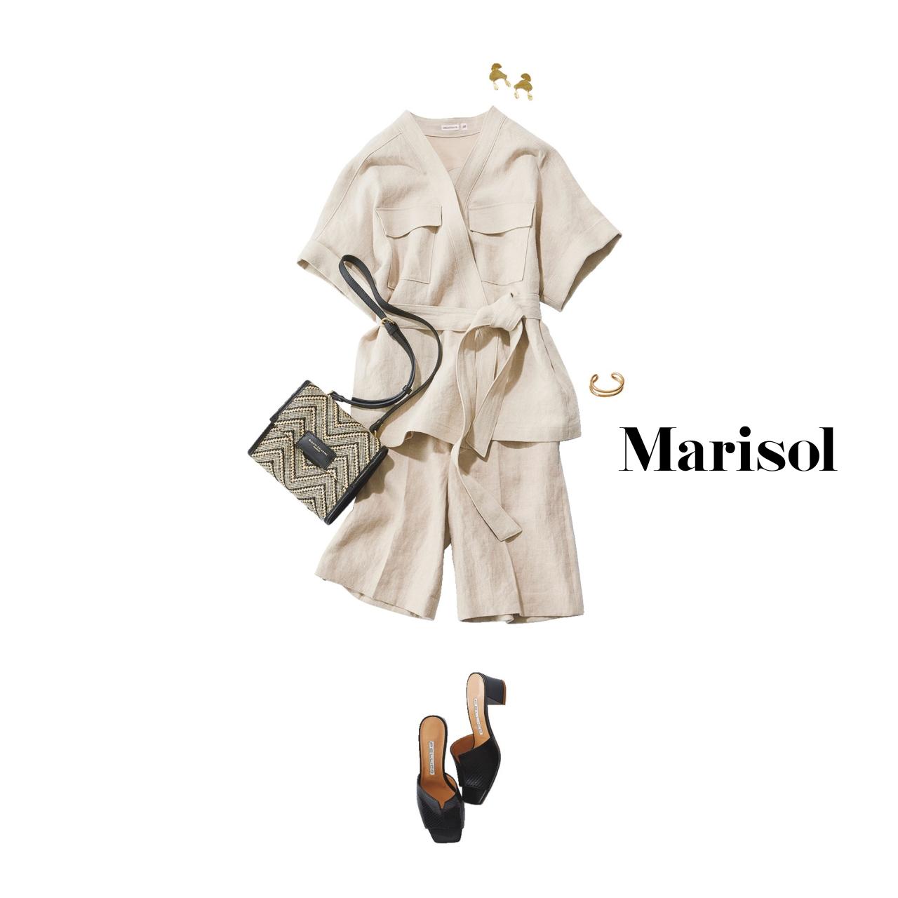 40代ファッション リネンシャツ×リネンハーフパンツコーデ