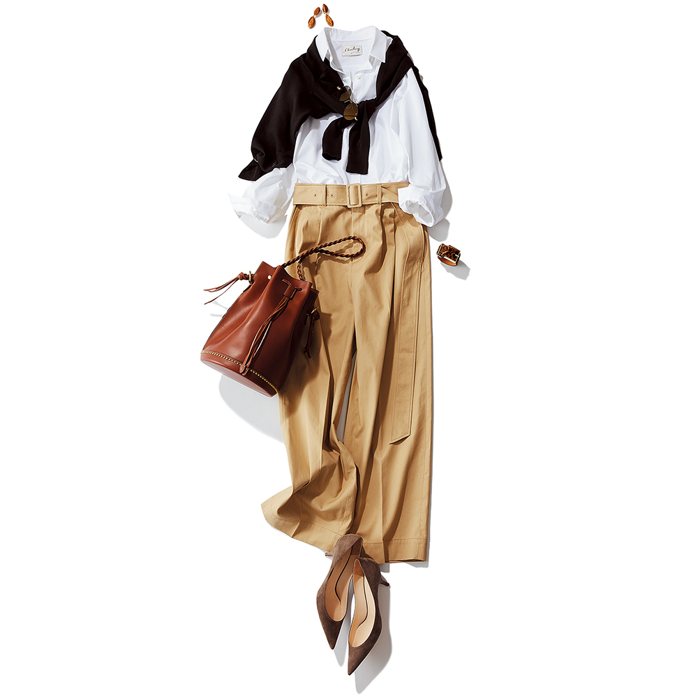 シャツ+タックパンツの定番コーデに女っぷりを_1_2-1