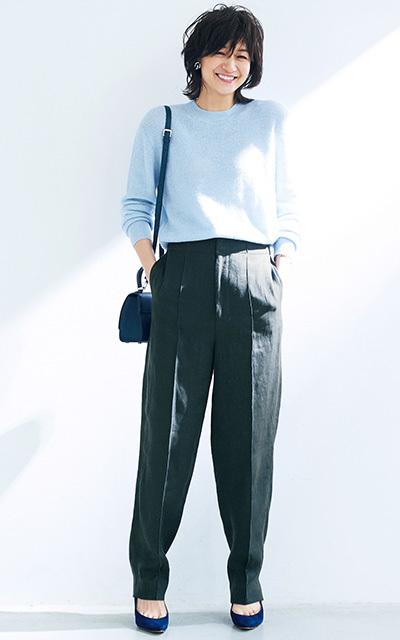 <最旬スタイル2>ニュアンスカラーで女らしいパンツスタイルに!【春のミニマム・ワードローブ】_1_1